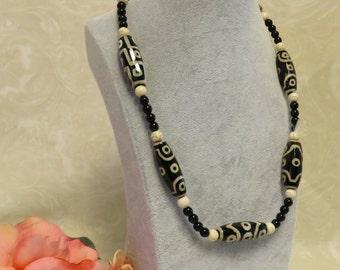 SALE !!! DZI Agate Necklace w/Tibetan Beads and a Unique Silver Clasp