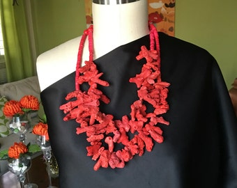 Red Sponge Coral and cocunut Necklace