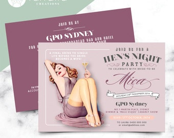 Hens Night Invitation // Double Sided // 120 x 180mm // Change to any Occasion