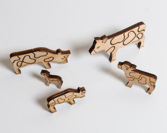 Set of 5 wooden Cows - farm animals