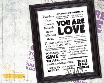 """You Are Love - 8x10"""" Custom Print, Inspiration, Quote, ACIM, A Course in Miracles"""