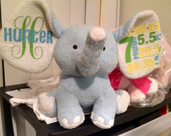 Personalized 8 inch Elephants (pink or blue)
