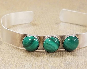 Sterling silver and malachite cuff bracelet