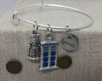Doctor Who Police Box Spoilers inspired Charm Bracelet Bangle Silver Tone Copper