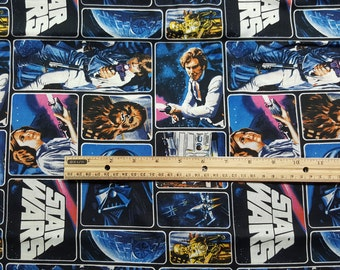 Star Wars Fabric, Yardage or Fat Quarter, FQ, Princess Leia, Darth Vader, Hans Solo, Chewie, Chewbacca, R2D2, C3P0, TIE Fighter, Characters