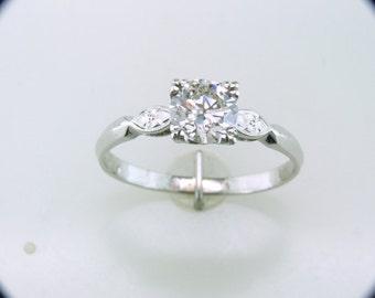 Vintage Antique 1.02ct Old European Cut Diamond 14k White Gold Deco Solitaire Engagement Ring