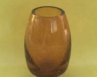 Vintage amber glass bubble vase
