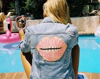 Make Out Make Art Patch Denim Jacket- new- vintage inspired- patch- denim- 1970s- make out- make art- light wash denim- lips patch
