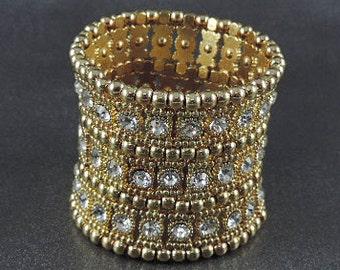 Rhinestone Wide Stretch Bracelet