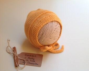 100% cashmere Baby hat bonnet handknit   3-6 months