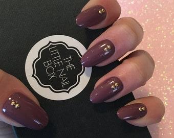 Hand painted oval purple stud press on nails | stick on nails | glue on nails | false nails | fake nails