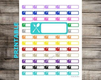 PRINTABLE Meal Planning Menu Plan Dinner Planner Stickers Multicolor Erin Condren Happy Planner