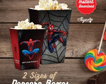 Spiderman Popcorn Box, Printable Spiderman Popcorn Boxes, Spiderman Birthday decoration, instant download, DIY, Spiderman Party