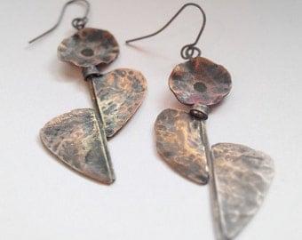 Flowers long copper earrings, Hammered  earrings, Art style copper earrings, Long black earrings, copper jewelry gift, Flowers big earrings