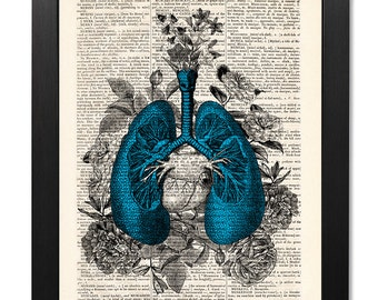 Anatomical blue lungs and flowers, Anatomical lungs print, Flower lungs, Flower print, Illustration print, Dictionary art, Gift [ART 118]