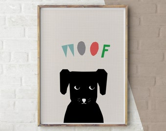 Dog Woof Print, Baby Animal Print, Childrens Nursery Poster, Dog Poster, Printable Art, PDF, Downloadable Art, Print Your Own Art, Sad Puppy