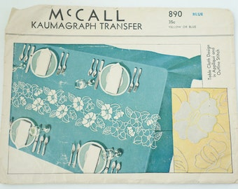 Vintage McCall's pattern 890 Kaumagraph Transfer Table Cloth Design