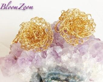 Gold Wire Crochet Beaded Flower Earrings Bridesmaid Earrings