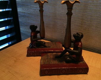 Pair of Monkey  candesticks candleholder Red books