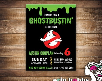 Ghostbustin Good Time Birthday Invite