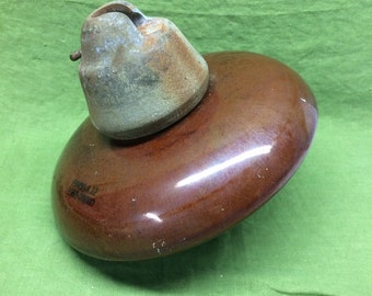 Vintage Large Pinco A12 Ceramic Insulator Chestnut Brown 10 inch diameter mixed media art supply assemblage