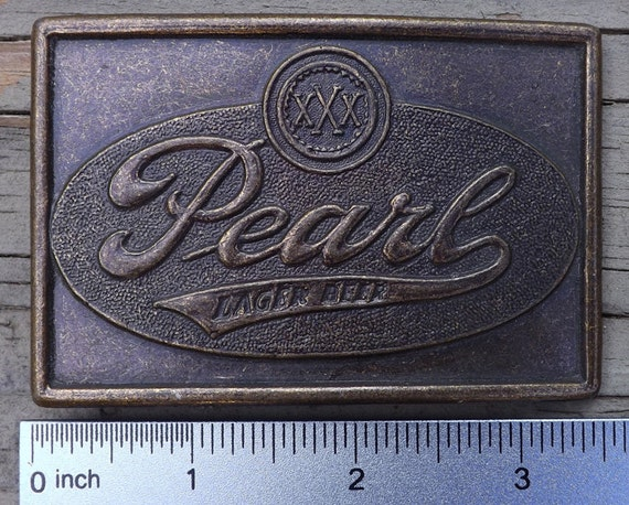Pearl Beer belt buckle, vintage 1970s brass