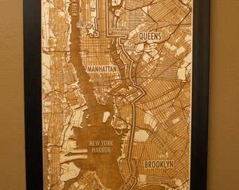 New York City Marathon Laser Engraved Map - NYC Marathon Route