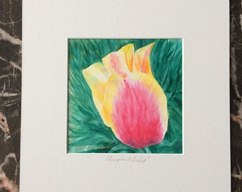 Pink Tulip Original Acrylic Painting, pink tulip art, tulip art, tulip painting, flower art, yellow tulip, gift ideas for mom, spring flower