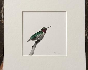 Hummingbird Original Acrylic Painting, Ruby Throated Hummingbird, hummingbird painting, small bird art, humming bird art, garden decor