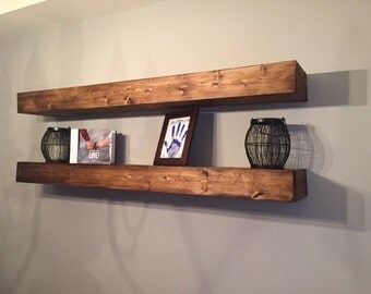 Large Rustic Handcrafted Floating Shelves