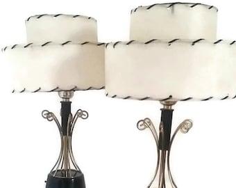 "Vintage Mid Century Modern 16"" Accent Lamp Pair Original 2 Tier Fiberglass Shade Black Bronze and White Atomic Age"