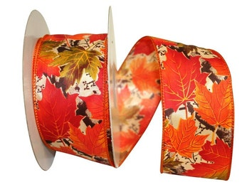 Wired Autumn Leaves Ribbon, Wired Fall Ribbon , 1-1/2 or 2.5 inchWired Ribbon, Fall Craft Ribbon, 3 Yards