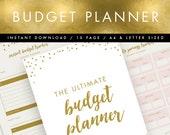 Printable Budget Planner INSTANT DOWNLOAD // Pink & Gold // Budget Organiser, Budget Planner, DIY Planner, Printable To Do List, Saving Plan