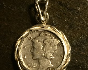 1942 Mercury Dime pendant