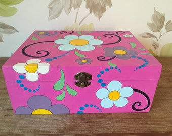 Hand painted large wooden box