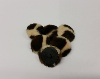 6 Large Furry Animal Print Fabric Covered Buttons 25 mm Size 40