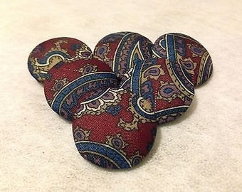 Large Buttons, Paisley Buttons, Fabric Covered Buttons, Shank Buttons, 25mm, Shank, or Loop Back Buttons, Coat Buttons, Upholstery Buttons