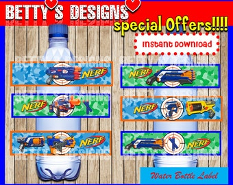 Nerf Water Bottle Label instant download, Printable Nerf Water Bottle Label, Nerf Water Label, Nerf gun water label printable party