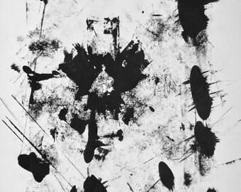Original Black and White Abstract Screenprint