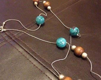 Blue and brown wrap around necklace
