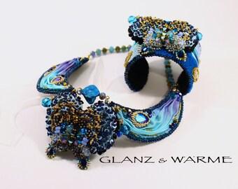 "Shibori necklace ""Nocturne"" - beadwork"