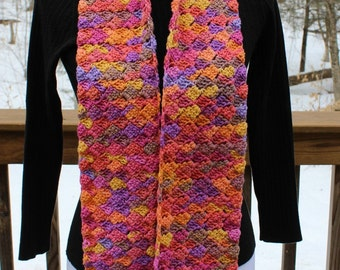 Multicolor Crochet Scarf, Long Crochet Scarf, Womens Scarf, Teen Scarf