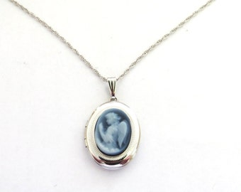 Blue Cameo Locket 14k white gold on thin chain