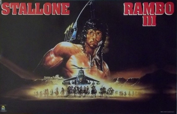 1988 Movie Posters: Rambo III 23x35 Sylvester Stallone Art Movie Poster 1988 First