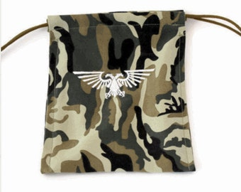 Warhammer, Dice Bag, Roleplaying Game, Dice Pouch, Wargame, Draw String Bag, Camo Dice Bag, Gamer Gifts, Custom Dice Bag, Hand Sewn