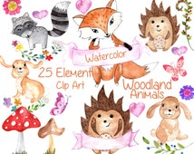 "Forest animals clip art: ""WATERCOLOR ANIMAL CLIPART"" Woodland animals  Forest friends watercolor florwers butterfly kids clipart invitation"