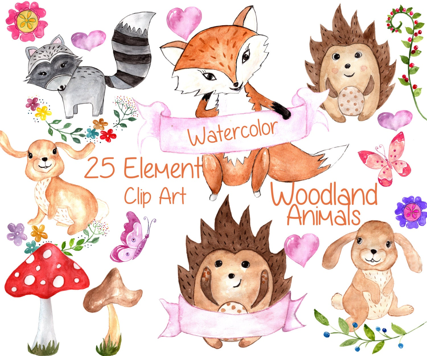 forest animals clip art watercolor animal clipart