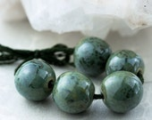 Pine green porcelain bead set-Ronnie's beads