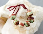 Mixed green, red and brown glazed porcelain bead set-Ronnie's beads