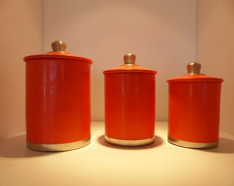 Lot of 3 cylindrical round boxes tadelakt coral red decoration